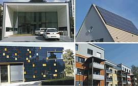 Ansichten verschiedener Passiv- und Plusenergiehäuser